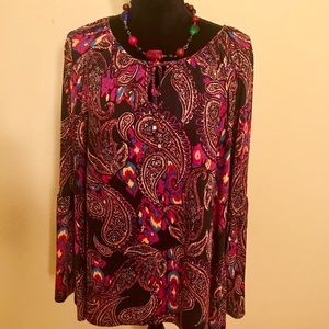 Cute Maroon Patterned Plus Size Top